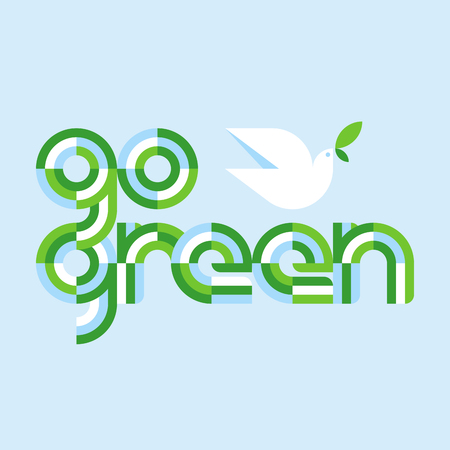 Earth day concept with go green lettering and white peace dove with olive branch