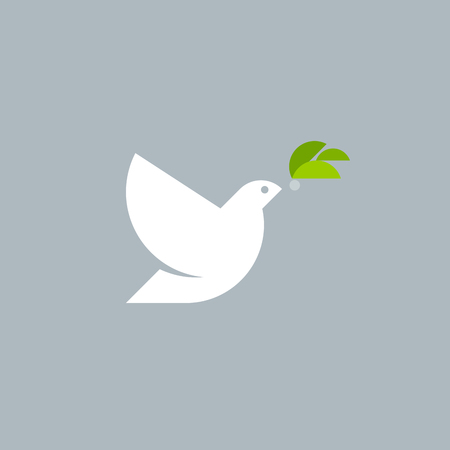 olive green: Geometric style vector logo template of white dove with olive branch on grey background