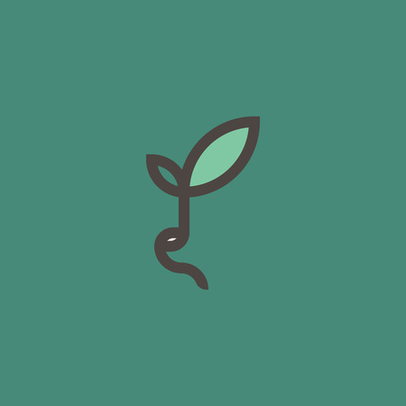 Fresh organic sprout. Modern line logo mark template with sprouting bean on green background