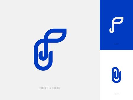 Línea moderna logo marca plantilla con clip de papel y nota musical