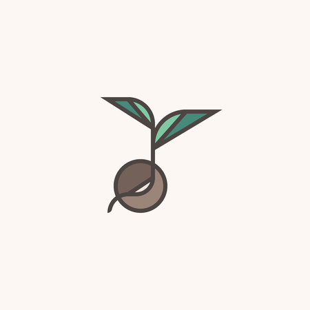 Fresh organic sprout. Modern line logo mark template with sprouting seed