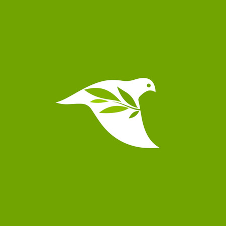 Peace dove with olive branch on green background. Elegant vector logo mark template of white pigeon