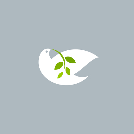 Peace dove with olive branch on grey background. Vector logo mark template