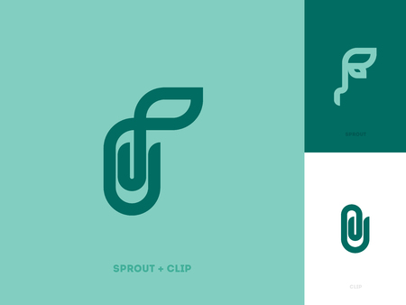 leaf: Modern line logo mark template with sprout and paper clip Illustration