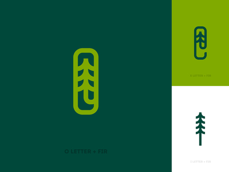 tree logo: Line logo template or icon with fir tree and letters Illustration