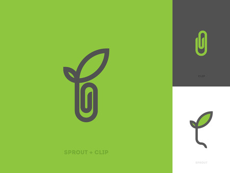 sprouts: Modern line logo mark template with sprout and paper clip Illustration