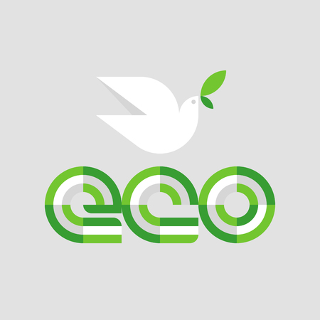 Ecology concept with eco lettering and white peace dove with olive branch