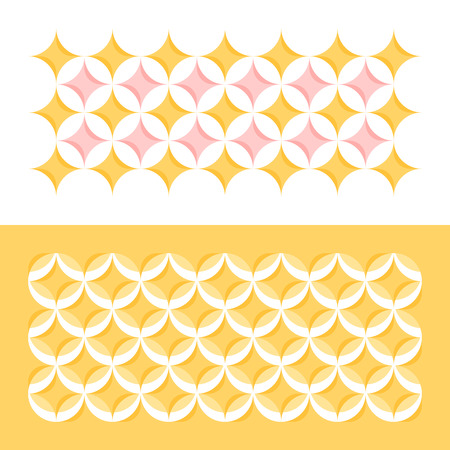 repetition: Pastel color geometric pattern with circles and stars. Abstract seamless vector background in yellow and pink Illustration