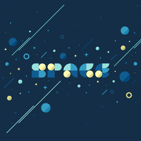 layout: Flat vector concept of fantasy galaxy in huge universe. Modern poster with space lettering and planets and stars background