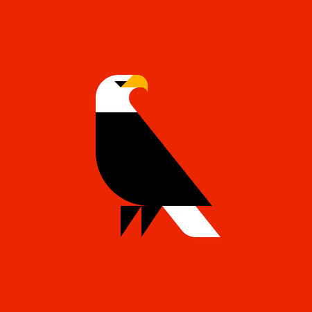 animal silhouette: Fat style vector logo template of bald eagle