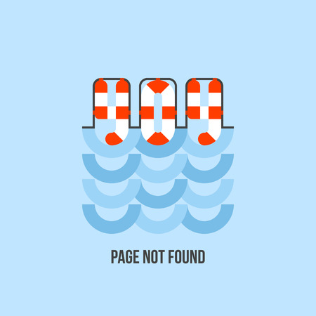 file not found: Lifebuoy in water looks like 404 error. Creative flat vector website page template reports that the page is not found