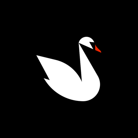 black background: Flat style vector logo template of white swan on black background