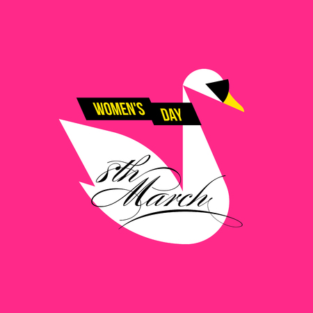 magazine design: Fashion white swan in glamorous sunglasses and stylish black scarf on bright pink background. International womens day greeting card with calligraphic phrase 8 March Illustration