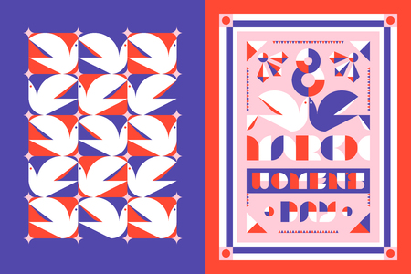 pattern: Greeting card template and poster for the 8 th of March international womens day with white dove and decorative elements in purple and orange