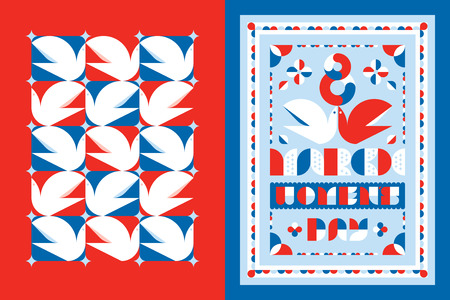 design elements: Greeting card template and poster for the 8 th of March international womens day with white dove and floral decorative elements in red and blue Illustration