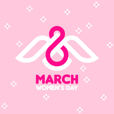 white background: 8 March womens day greeting card with white bird and number eight on pink floral background Illustration