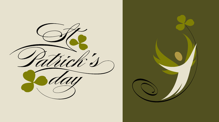 st: St. Patricks Day greeting card with winged elf and green clover leaf. Vector illustration with Saint Patricks Day lettering Illustration