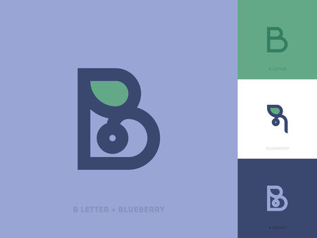 leaf: Line style logo template with letter b and blueberry with leaf