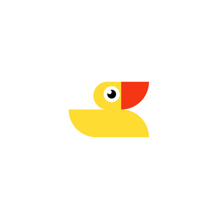 Yellow rubber duck logo. Ducky bath toy flat icon isolated on a white