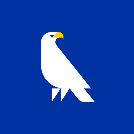 Fat style vector logo template of white eagle on blue background Illustration