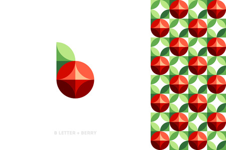 Elegant vector logo template or icon of red berry with leaf and pattern