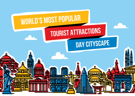 web: Colorful cityscape with worlds most popular tourist attractions. Modern flat line style vector illustration for traveling and tourism concepts Illustration