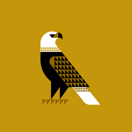 layout: Decorative falcon on ochre background