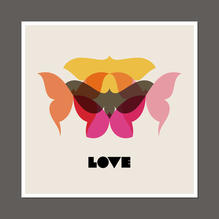 copyspace: Retro poster with butterflies and moths. Beautiful vintage style vector illustration Illustration