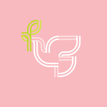 White pigeon with green olive branch on a soft pink. Modern flat double line vector icon or logo template Illustration