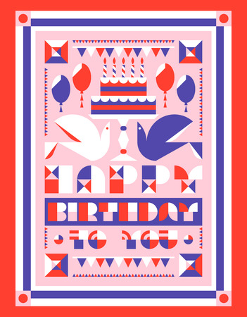 holiday party: Happy birthday greeting card with cake and candles, balloons and garlands. Flat style vector birthday party invitation with geometric lettering