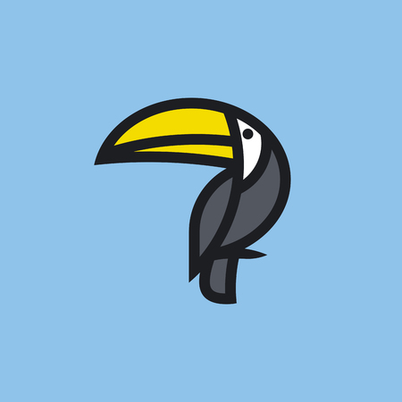 modern: Modern flat bold line icon or logo template of toucan