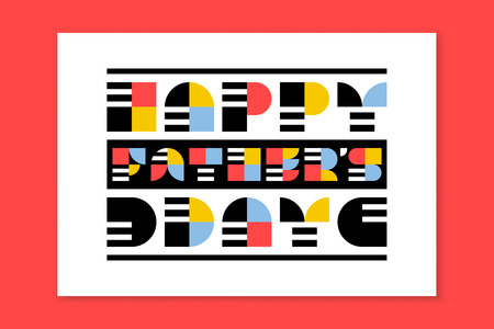 card: Flat style Fathers day greeting card or poster with retro lettering