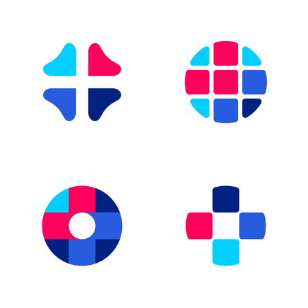 business sign: Set of abstract medical vector logo mark templates or icons Illustration
