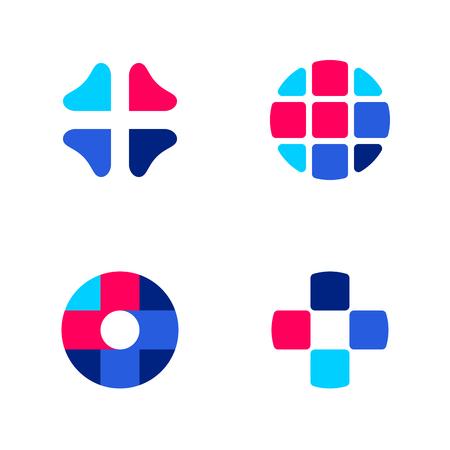 lekarz: Zestaw abstrakcyjna wektora medycznych znaku szablony lub ikony