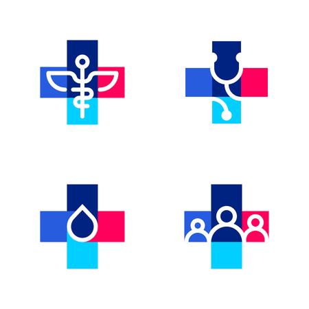 forme: Modèles de logo médicaux ou de pharmacie ou icônes avec croix