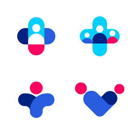 business people: Abstract human figures and cross. Medicine and health care vector logo mark templates or icons set