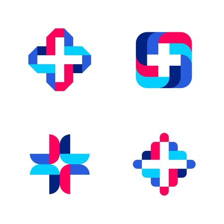 template: Colorful cross. Abstract medical logo mark templates or icons