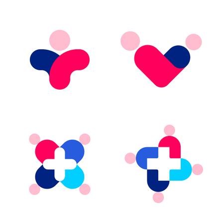 forme: Silhouettes humaines et croix. Médecine et soins de santé vecteur logo marque des modèles ou des icônes ensemble