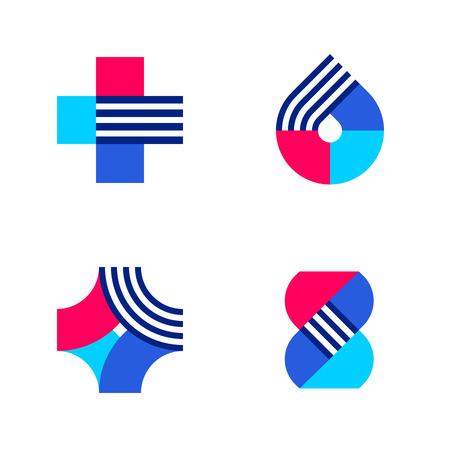 forme: Croix, goutte et ADN. Ensemble de modèles ou d'icônes abstraites de marque de logo de vecteur médical ou de pharmacie Illustration
