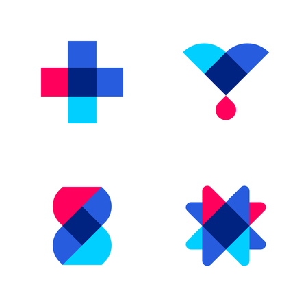 layout: Cross, drop and DNA. Set of abstract medical or pharmacy vector logo mark templates or icons