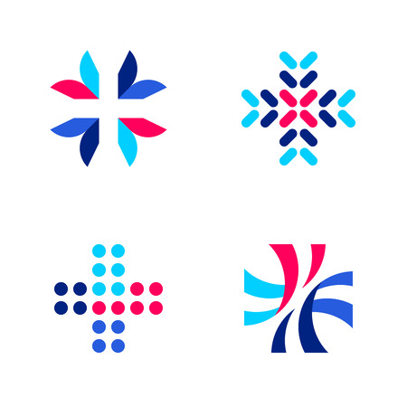 people: Medical or pharmacy logo mark templates or icons with cross Illustration