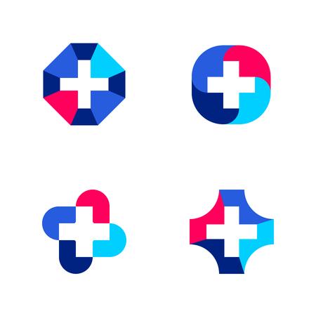 lekarz: Zestaw abstrakcyjnych szablonów medycznych znaczników lub ikon z krzyżem