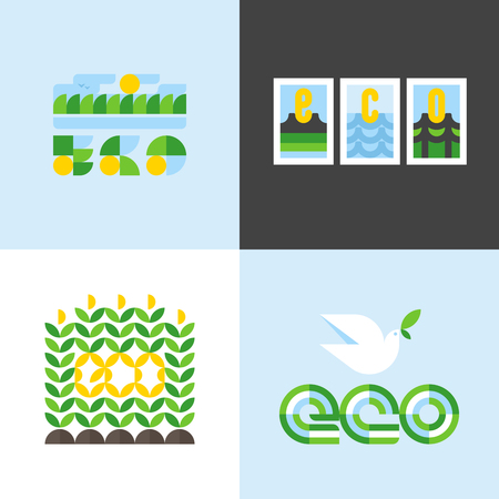 green environment: Ecology concept with bio lettering and design elements of nature. Flat style vector illustration for Environment day or Earth day
