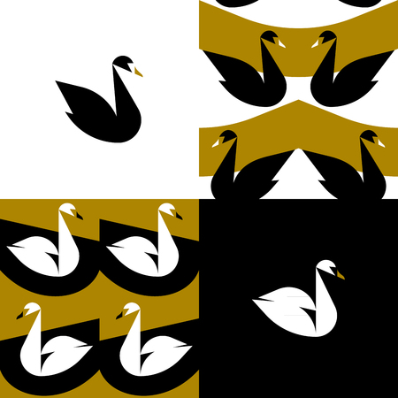 Design elements and seamless pattern with black and white swans