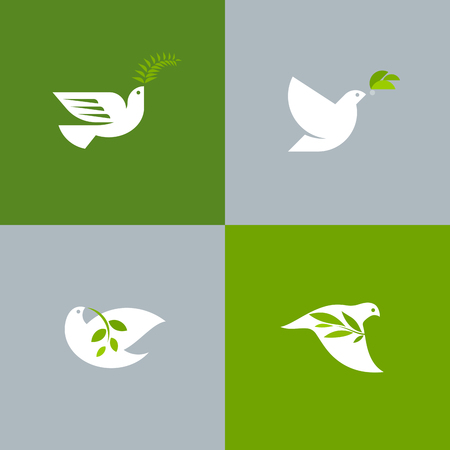 card: Set of peace doves. Flat style vector logo template of white pigeon with olive branch Illustration