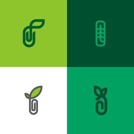 decoration: Set of modern line logo mark templates of sprout with leaf and paper clip Illustration
