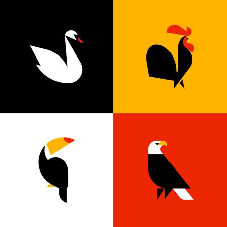Zwaan, haan, toucan, kale adelaar. Set van plat stijl vector logo sjablonen