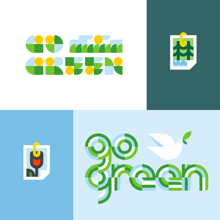 Ecological concept with go green lettering and stylized photo of nature view. Illustration