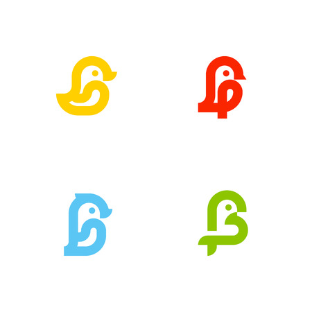 layout: Set of icons or logo templates with little birds. Duck, sparrow, penguin and parrot isolated on a white background. Line art style Illustration