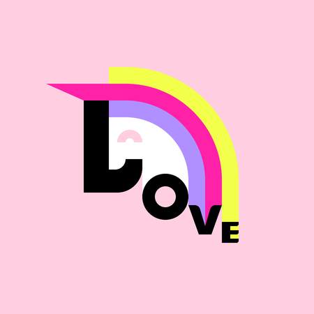 rainbow: Cheerful unicorn and love lettering. Flat style poster or t-shirt print